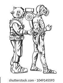 Two divers. Graphic drawing. Steampunk