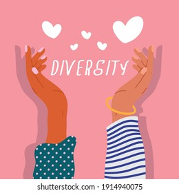 two diversity hands humans up with hearts and lettering vector illustration design