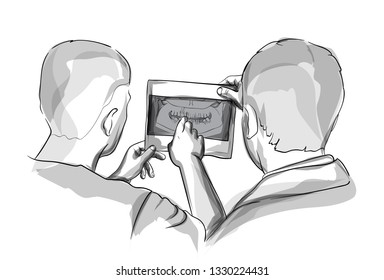Two doctors analyzing Xray diagram Vector sketch storyboards