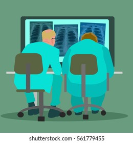 Two doctors pulmonologists examining chest x-ray pictures. Back view.  Cartoon flat vector illustration isolated on white background.