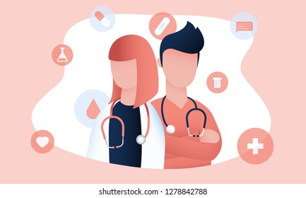 Two doctors with stethoscopes are ready to give qualified medical support online and offline. Colorful vector illustration for web and printing.