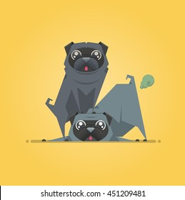 two dogs playing, vector background