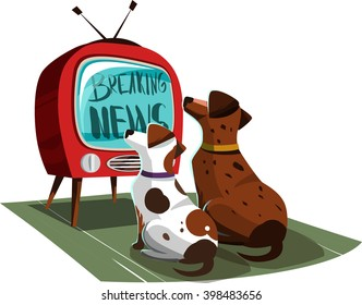 Two dogs watching the news on TV. Vector illustration