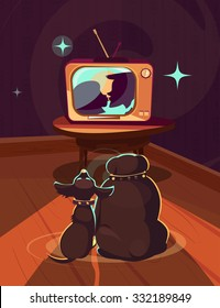 Two dogs watching TV. Retro TV. Vector.