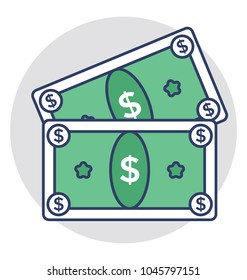 Two dollar banknotes concept of cash amount