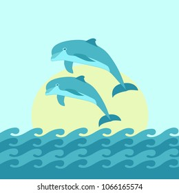 Two Dolphin jumping blue sea background with waves and Sun. Vector illustration. Season design