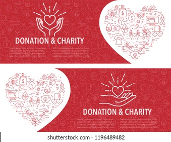 Two Donation banner template in linear style. Horizontal banner with different donation elements in heart shape. In red color. Vector illustration