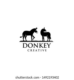 two donkey logo icon design vector illustration template