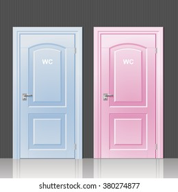 Two doors toilets pink and blue in the room interior vector