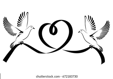Two Doves flying with a black ribbon in the shape of heart. Dove Of Peace. Vector illustration.
