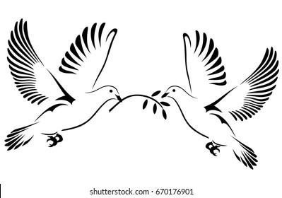 Two Doves flying with a twig. Dove Of Peace. Vector illustration.