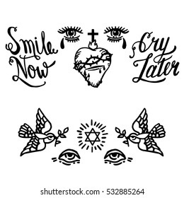 Two Doves with a Halo. Symbol of Religion. Dove Of Peace. Vector illustration. Hand drawn calligraphy Smile Now and Cry Later. Crying Eyes and Sacred Heart of Jesus.