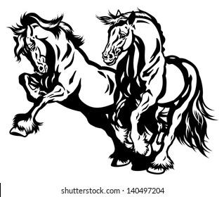 two draft horses black and white illustration