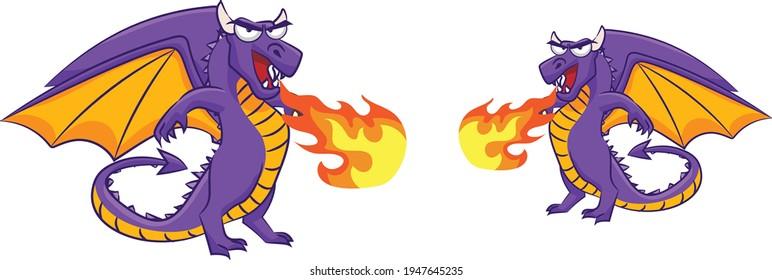 Two Dragon cartoon vector art and illustration