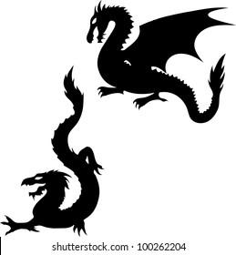 Two Dragon Silhouettes