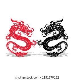 Two dragons (black and red), battle, on white background, vector