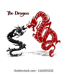 Two dragons (black and red) in fight, silhouette on white background, vector