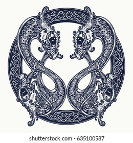 Two Dragons in celtic style, tattoo. Meditation, philosophy, harmony symbol. Black and white celtic dragon t-shirt design