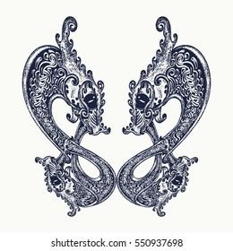 Two dragons celtic tattoo. Scandinavian and Irish forces symbols. Dragon t-shirt design