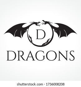 Two dragons holding letter D, vector monogram template
