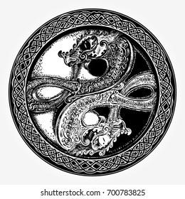 Two dragons tattoo and t-shirt design. Meditation, philosophy, harmony symbol