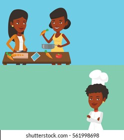 Two drinks banners with space for text. Vector flat design. Horizontal layout. Young smiling women having fun while cooking together healthy meal. African-american women cooking healthy vegetable meal