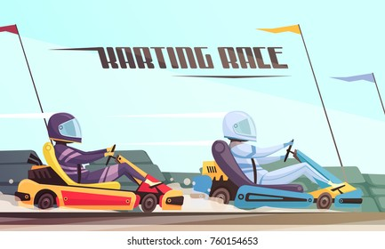 Two drivers taking part in kart racing cartoon vector illustration