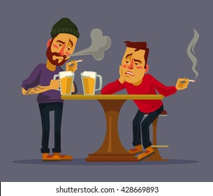 Two drunk friends discus problems. Vector flat cartoon illustration