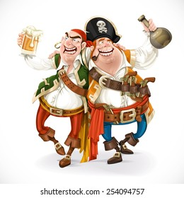 Two drunk pirates are drinking holding each other isolated on white background