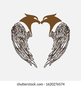 two eagle logo. symbol, design, icon and vector