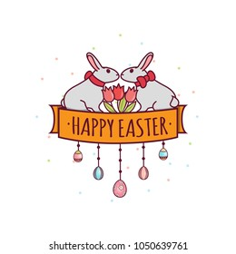 Two Easter bunnies sit facing each other. Between them are red tulips. Painted eggs. Linear pattern in a flat style. On a white background with a pattern of small circles. Vector illustration.
