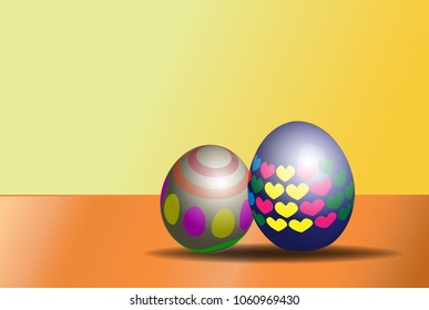 two easter eggs on yellow background