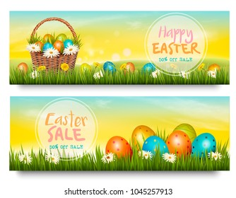 Two Easter Sale banners. Colorful eggs in basket on green grass. Vector.