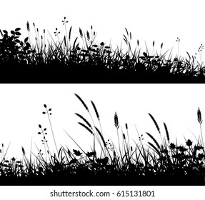 Two editable vector silhouettes of grassy meadows in summer
