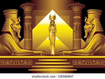 Two Egyptian sphinx and Queen on a black background