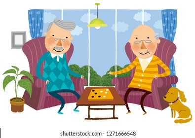 Two elderly Man playing Indoor game