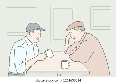 Two elderly men sit facing each other, sitting and drinking tea. hand drawn style vector design illustrations.