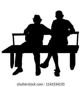 Two elderly people silhouettes sitting on a park bench over white background, vector illustration