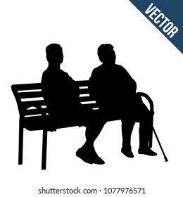 Two elderly woman silhouettes sitting on a bench on white background, vector illustration