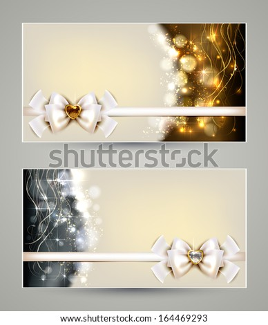 Two elegant christmas greeting cards bow stock vector royalty free two elegant christmas greeting cards with bow and jewelry m4hsunfo