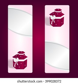 Two elegant gift pink vertical banner with red boxes and white bows. Vector