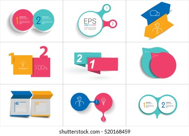 Two elements banner. 2 steps design, chart, infographic, step by step number option, layout.