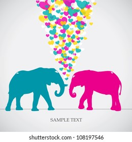 Two elephants, love colorful card. Can be used for postcard, valentine card, wedding invitation