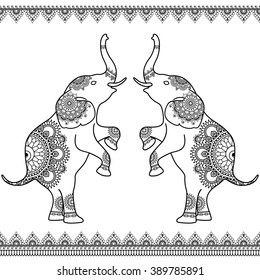 Two elephants standing up with seamless line lace borders in ethnic mehndi Indian henna style.  Vector illustration isolated on white background