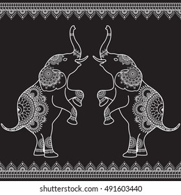 Two elephants standing up with seamless line lace borders in ethnic mehndi Indian henna style. Vector illustration isolated on black background