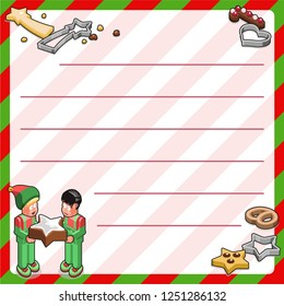 Two elves holding huge christmas cookie; cookies and cutters in various shapes and sizes (bakery template, framed and lined for your own text)