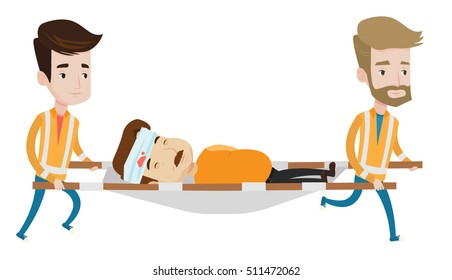 Two emergency doctors carrying injured man on emergency medical stretcher. Caucasian emergency doctors transporting victim on stretcher. Vector flat design illustration isolated on white background.