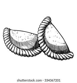 Two empanadas. Hand drawn illustration