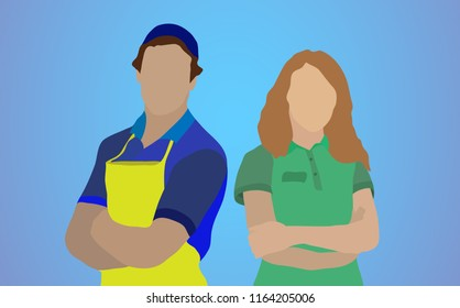 Two employees. A man and a woman. Tradespeople. Salespeople. Isolated