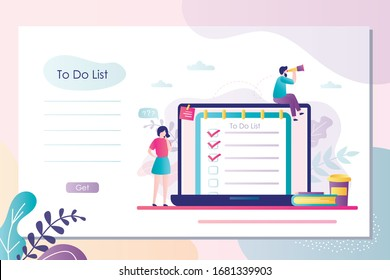 Two employees plans your office day. To do list or planner on laptop screen. Tiny office people work on new project. Landing page, printable banner template. Trendy flat vector illustration